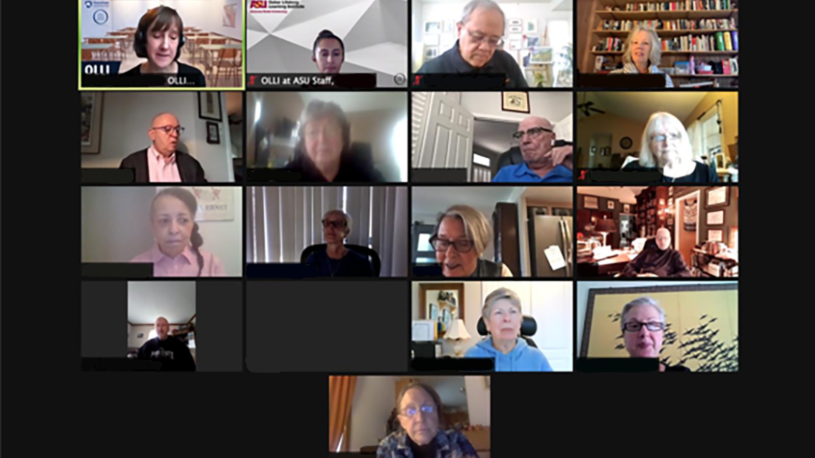 Members of OLLI PSU and ASU on a Zoom Buddy Mixer.
