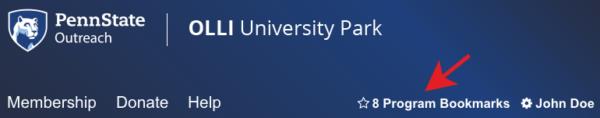 Screenshot of the Program Bookmarks link in the registration system