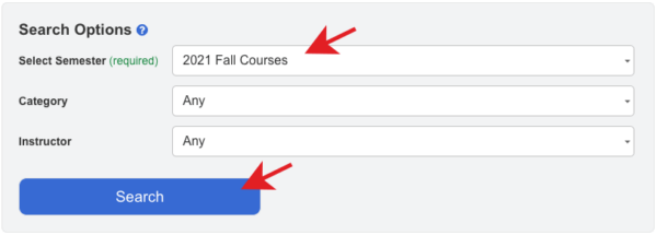 Screenshot of the course search options